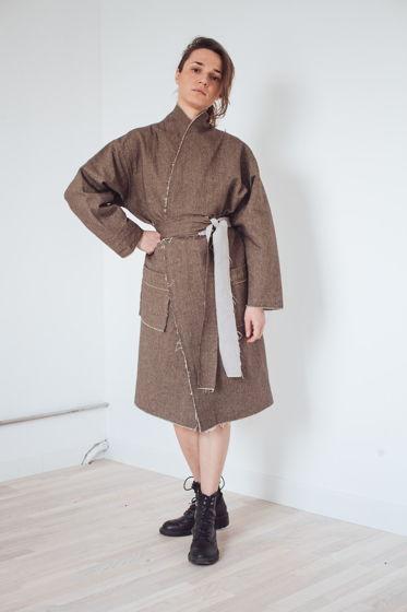 весеннее пальто-кимоно из тонкой шерсти *кора*