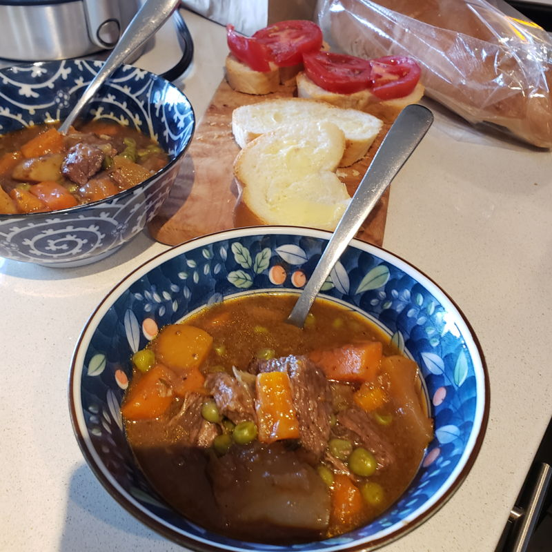 Beef stew with lotsa veggies.