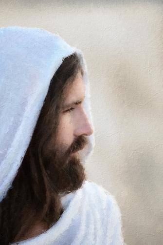 Gentle portrait of Christ, profile view.