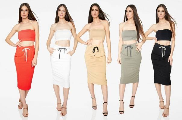 HeyYou Drawstring Midi Skirt