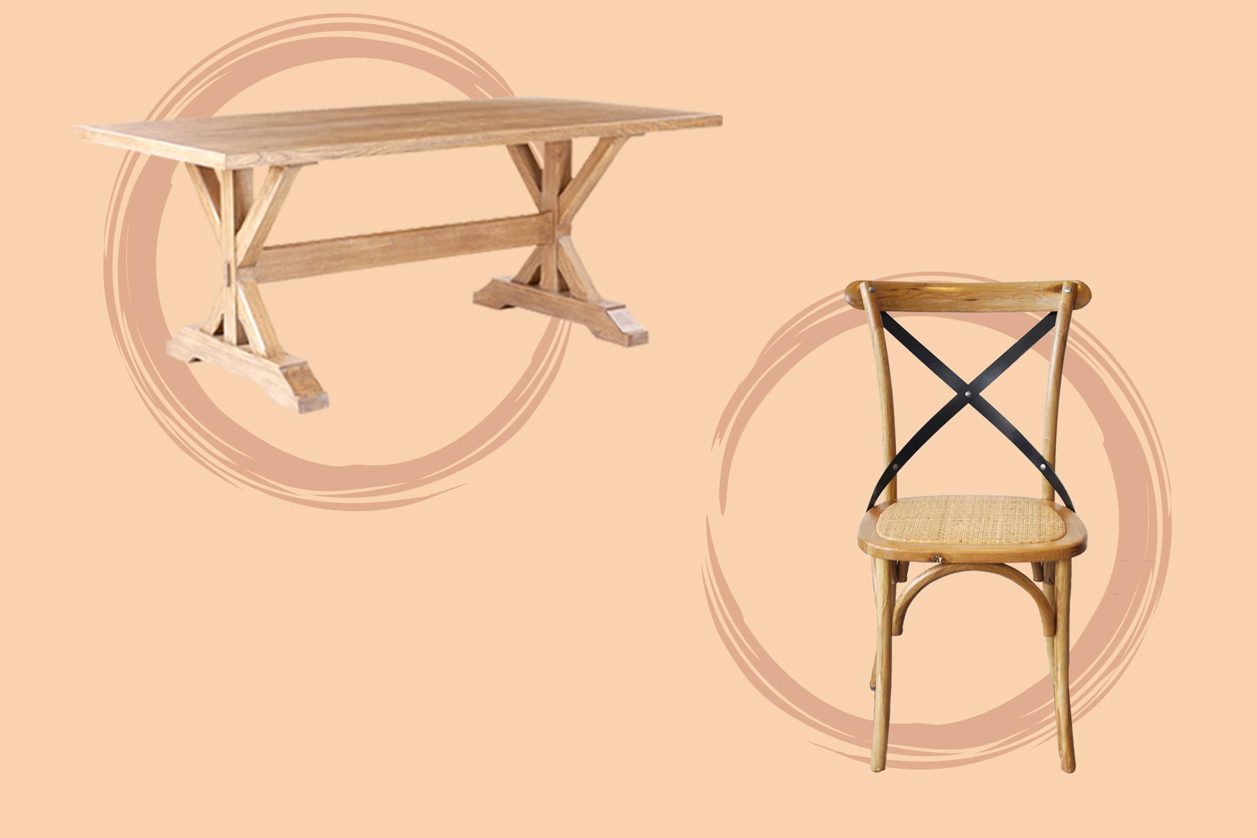 a wooden chair and table