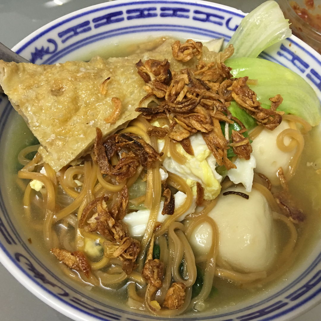 Yee mee with steamboat's broth.