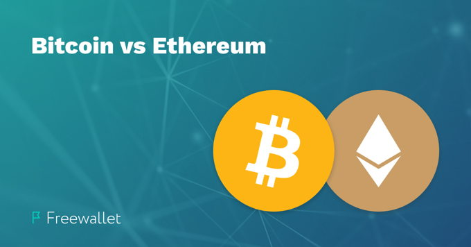 Bitcoin vs Ethereum close up comparison
