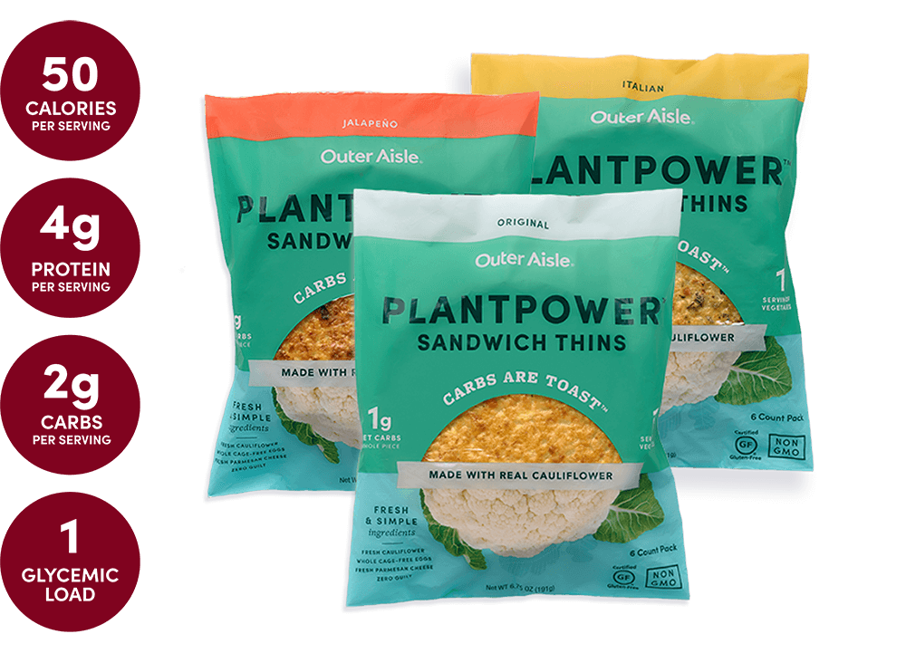 layered cauliflower sandwich thins packages