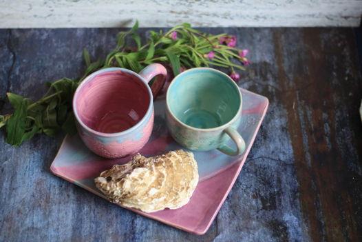 Керамическая чайная пара Бирюзовые кружева