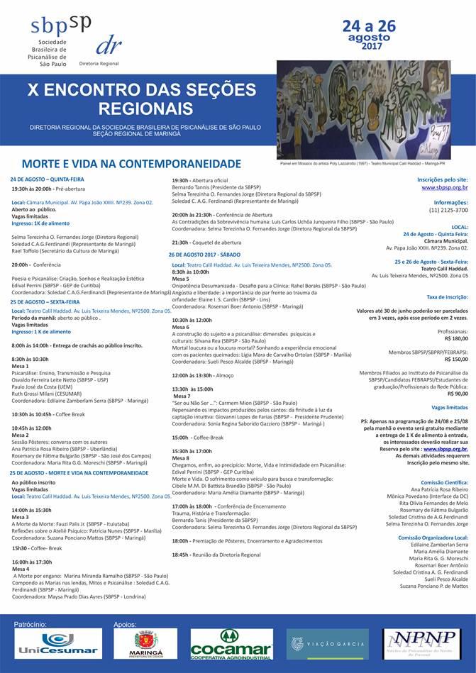 X ENCONTRO DAS SEÇÕES REGIONAIS DE 24 A 26 DE AGOSTO