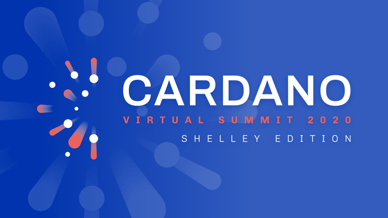 The logo for the Cardano virtual summit - Shelley edition 2020, with a blue background