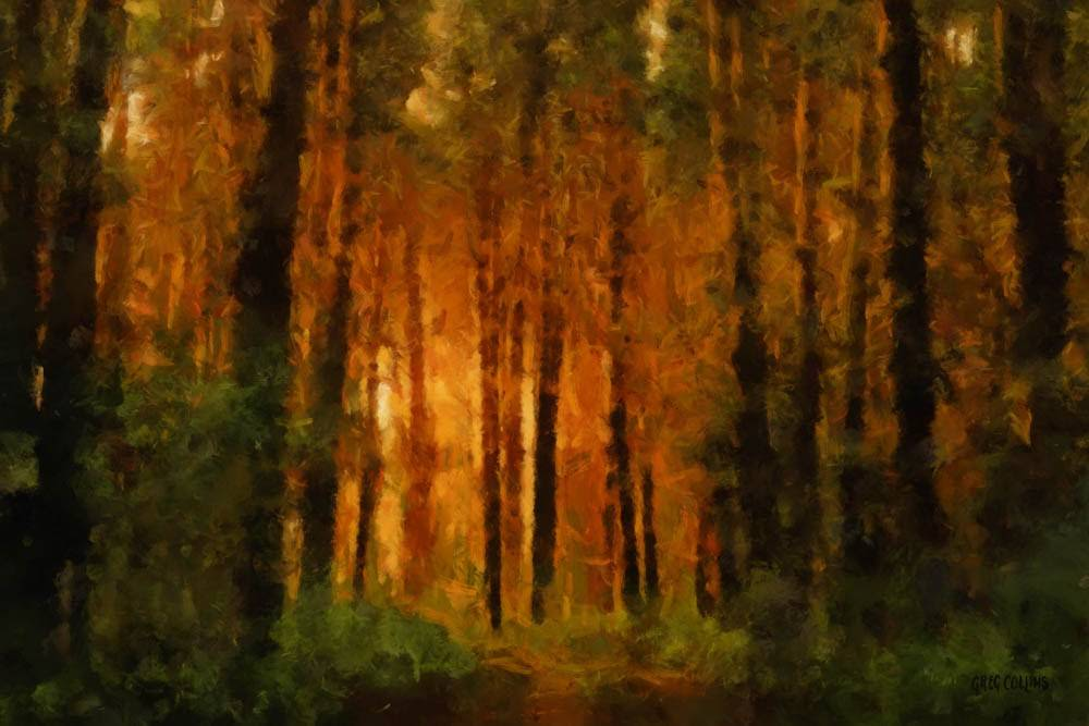 Impressionist painting of the Sacred Grove. It glows with warm colors.