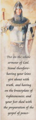 LDS art bookmark featuring a painting by Judy Cooley of a young man wearing knight's armor Ephesians 6.
