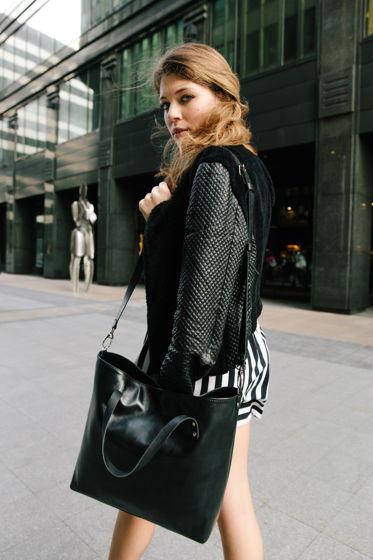 Черная большая кожаная женская сумка шоппер