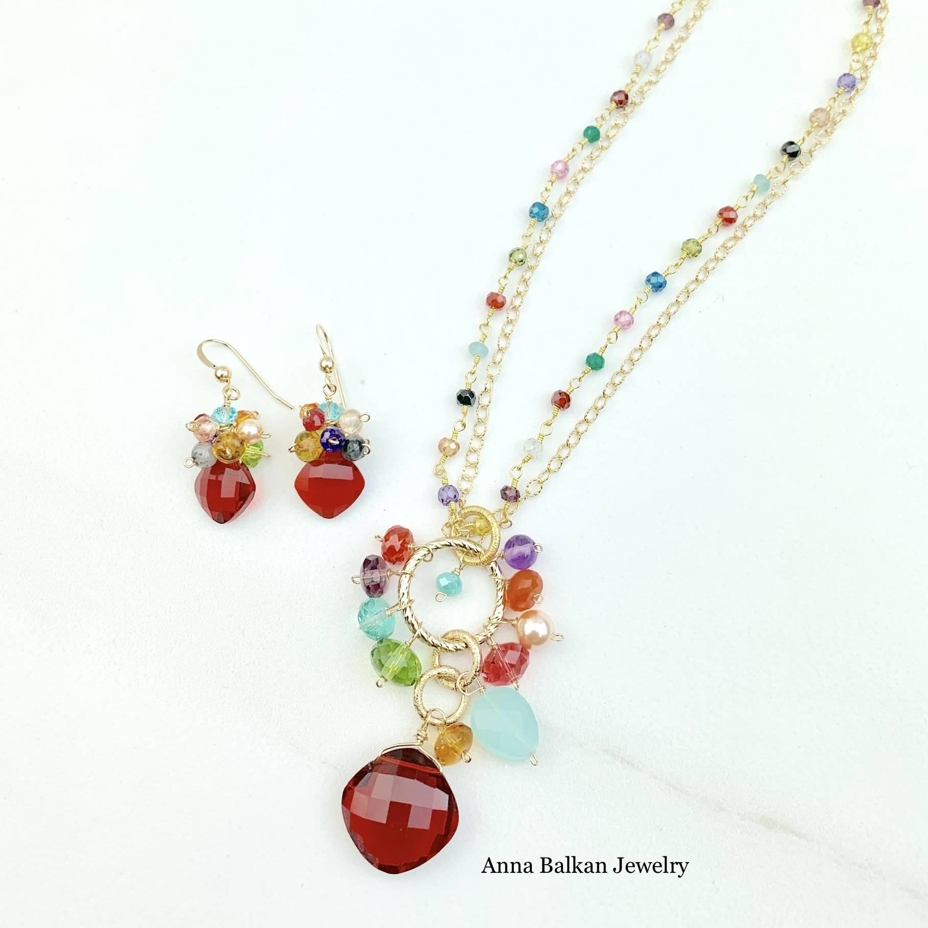 Jeanie Necklace with Cluster Earrings