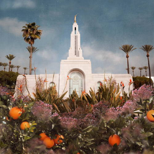 Picture of the Redlands Temple. Orange trees fill the foreground.