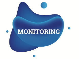 """""""MONITORING"""" written in white with dark blue shapes in background"""