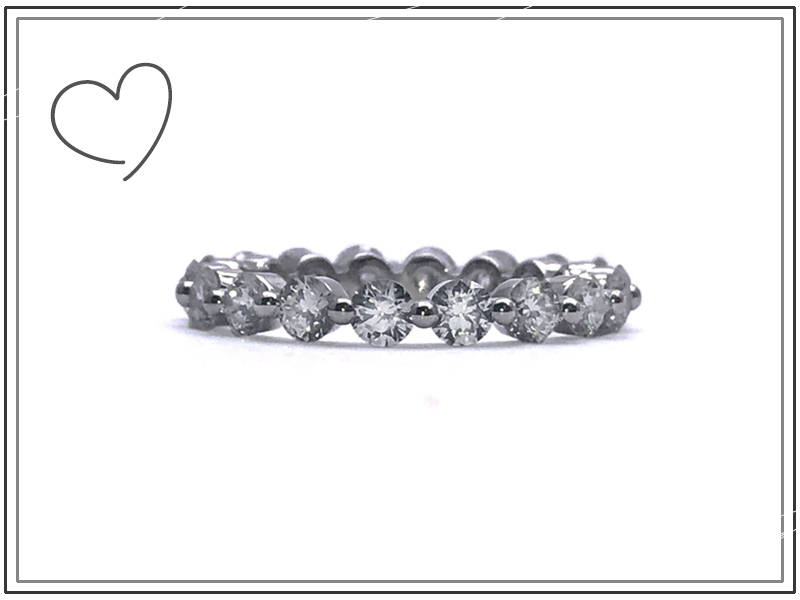 eternity ring with 16 diamonds set closed