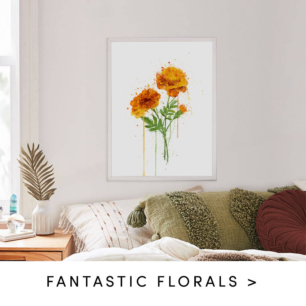 marigold splatter wall art prints. Text states to shop fantastic Florals
