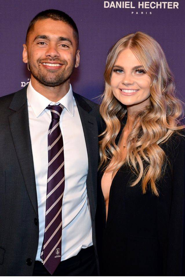 Brad Hill and his partner at the Fremantle Dockers Gala