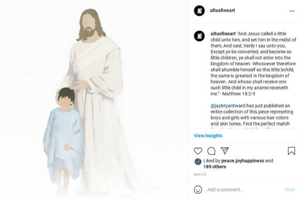 Instagram post featuring a minimalist painting of Jesus and a little child.