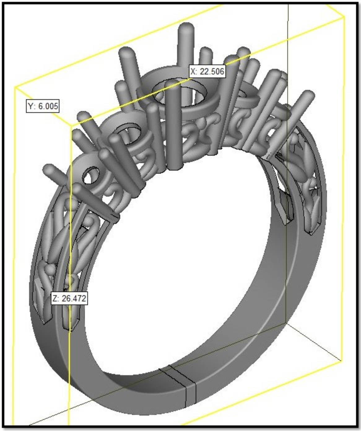 CAD model of a custom engagement ring