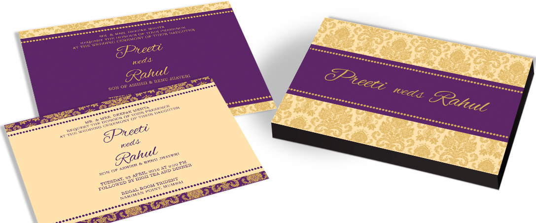 Purple Invitation card for Marriage
