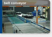 Belt type conveyor for moving boxes etc
