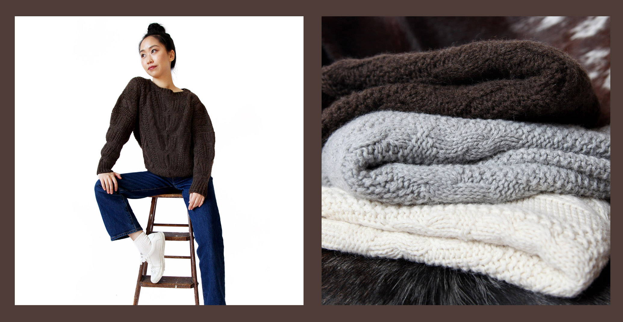 Stick & Ball Alpaca Sarah Cable Knit Sweaters in chocolate/brown, silver grey & cream