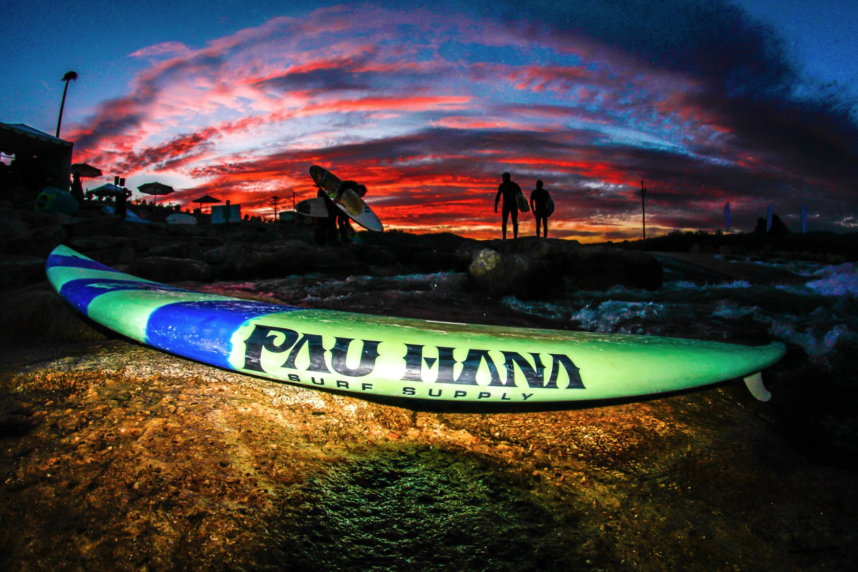 close up shot of the Pau Hana carve white water and surfing board