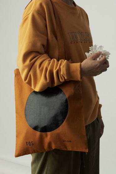 Сумка - шоппер FOS clothes в цвете охра с принтом