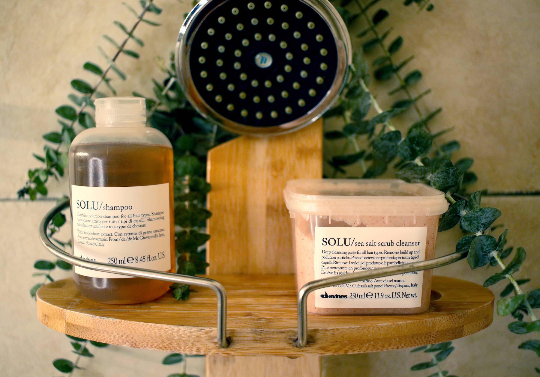 SOLU shampoo and sea salt scrub Davines clarifying