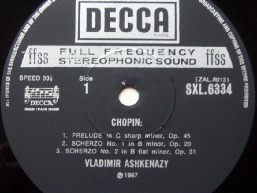 DECCA SXL-NB-ED4 / ASHKENAZY, - Chopin 4 Scherzos, NM!