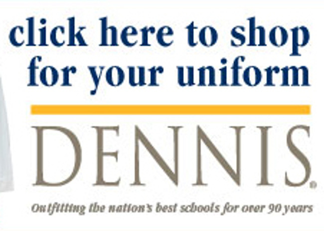 """""""Click here to shop for your uniforms"""" poster featuring a Primrose school uniform"""