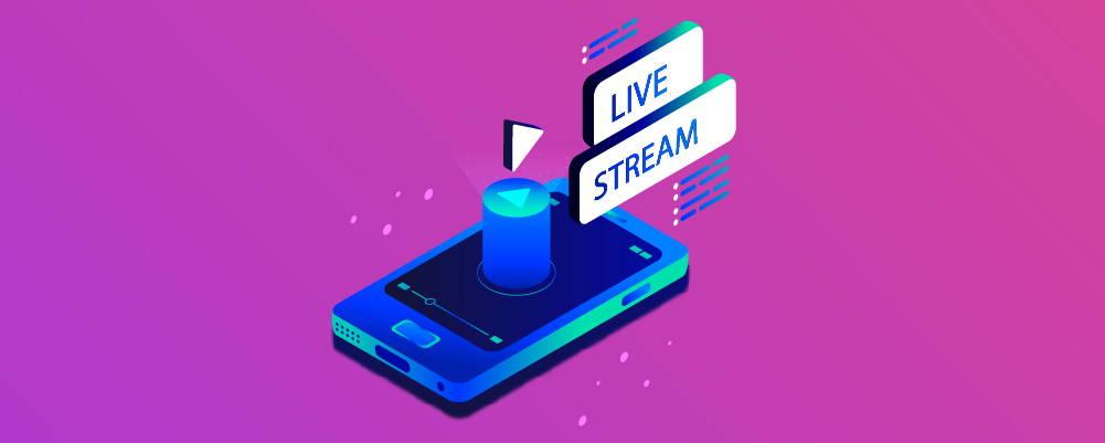 Phone under the word Live Stream