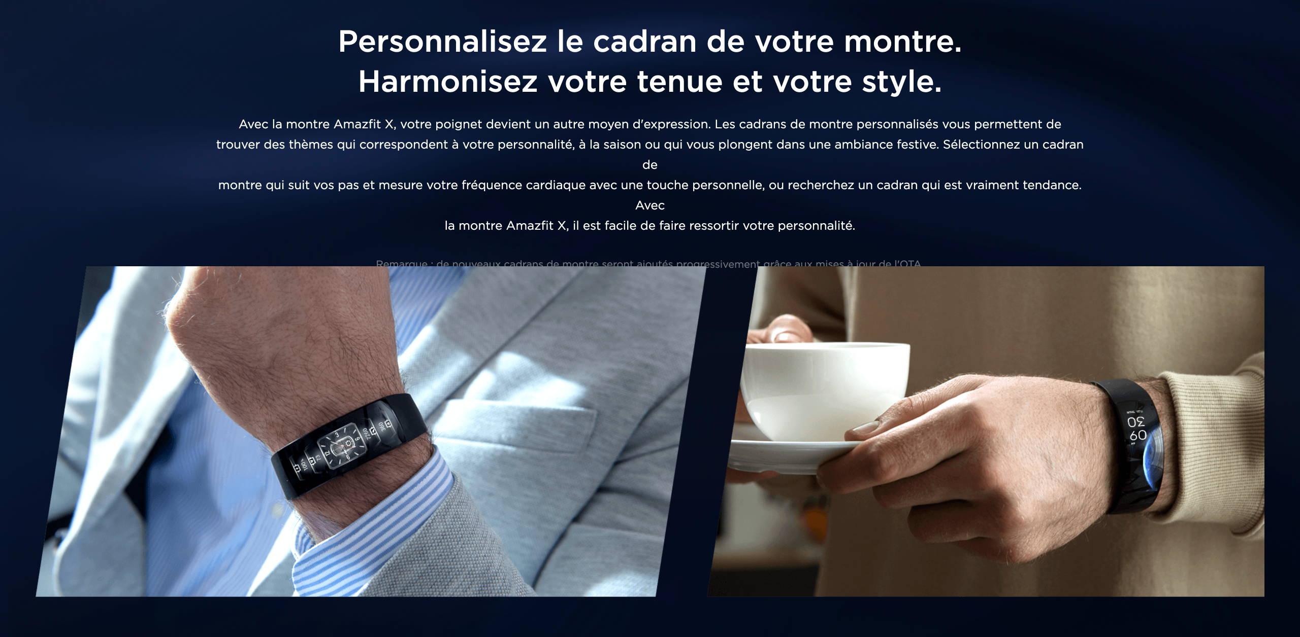 Amazfit X - Personnalisez le cadran de votre montre. Harmonisez votre tenue et votre style.