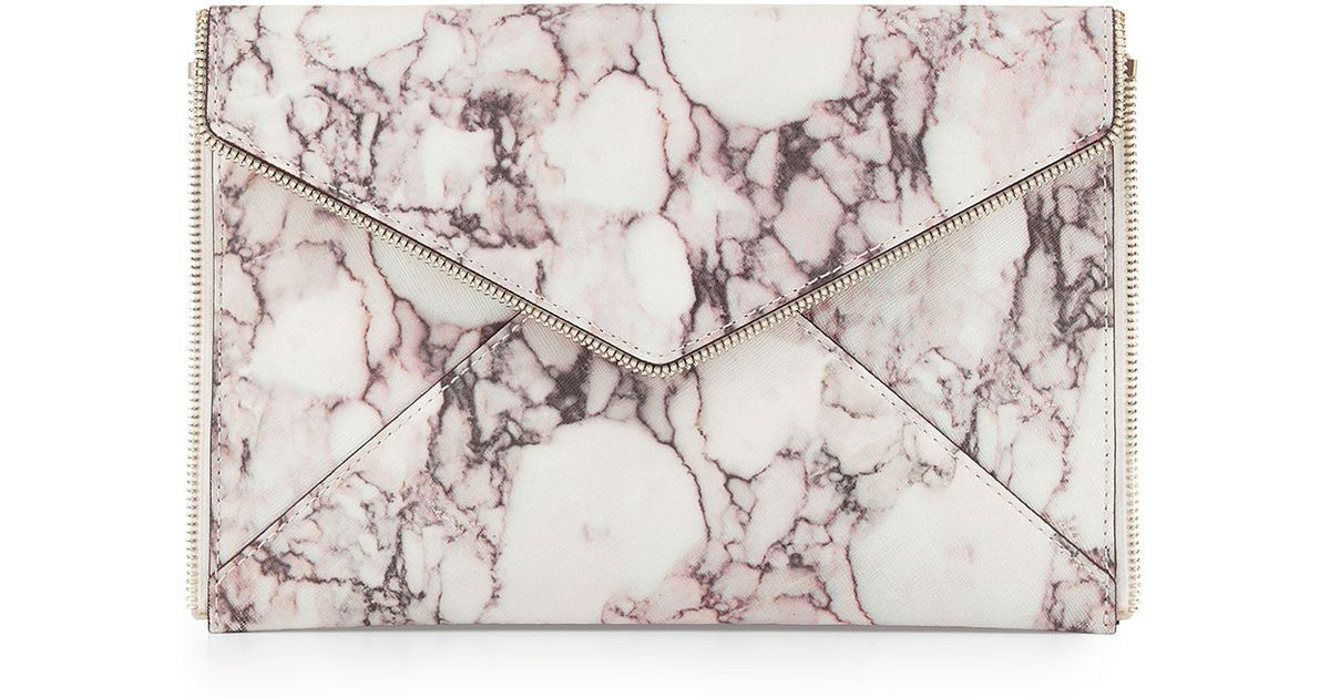 Rebecca Minkoff Leo Clutch, featuring pink marble leather finish