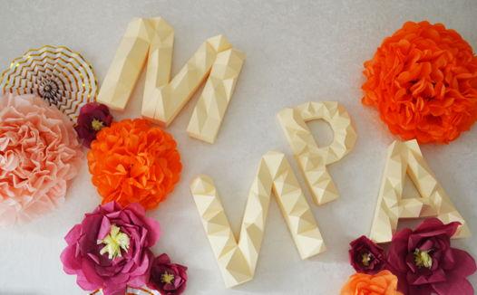 Бумажные 3D буквы ручной работы по индивидуальному эскизу