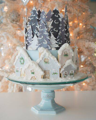 Snow-themed holiday cake. Available only for the Christmas and holiday season at House of Clarendon in Lancaster, PA