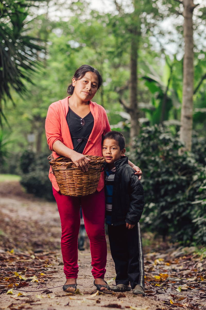 Woman Coffee Picker and Child.