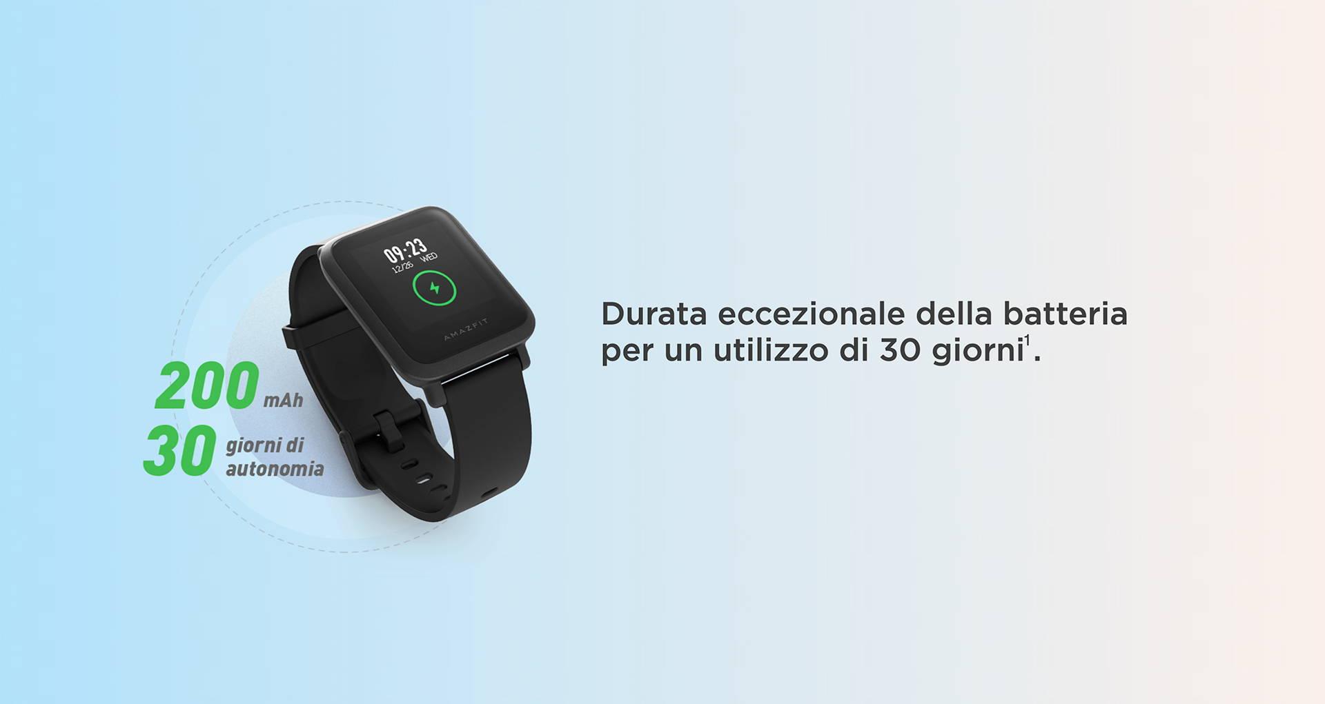 Amazfit IT - Amazfit Bip S Lite - Durata eccezionale della batteria per un utilizzo di 30 giorni.