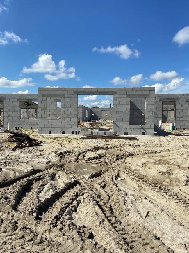 construction site showing concrete block vestibule