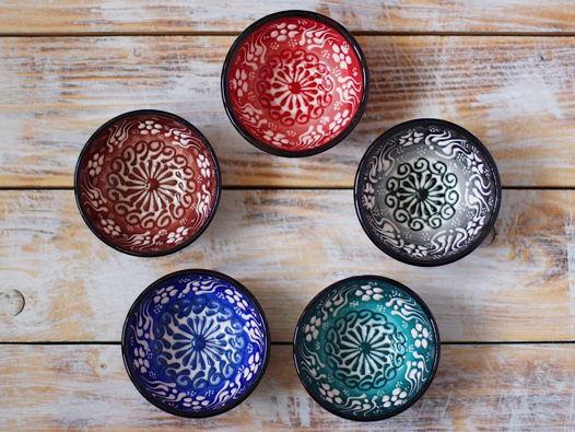 Набор разноцветных керамических соусниц (5 шт)