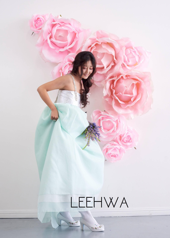 Mint green hanbok skirt
