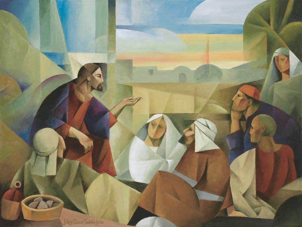Modern painting of Jesus Christ teaching the multitude.