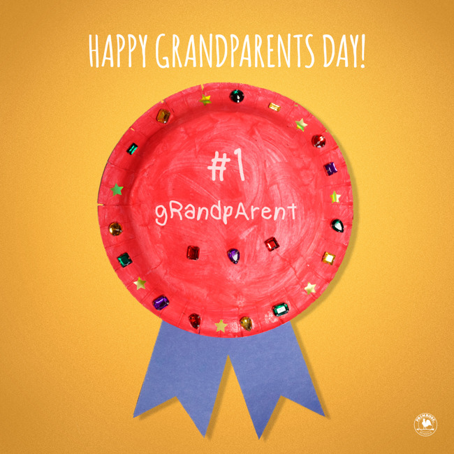 "A child-made red and blue ribbon says ""#1 Grandparent"""
