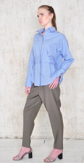 Рубашка трансформер голубого цвета с рюшкой на спине