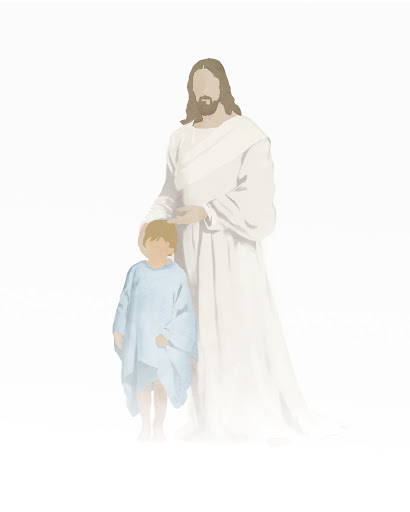 Modern minimalist painting of Jesus standing with a young boy.