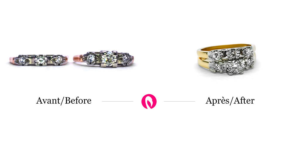 Transformation of two rings with three diamonds each into a two-ring ring in yellow gold with a pavé of six diamonds.