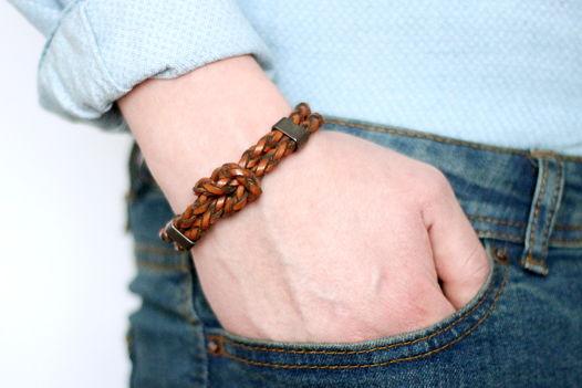 Мужской кожаный браслет морской узел коричневый