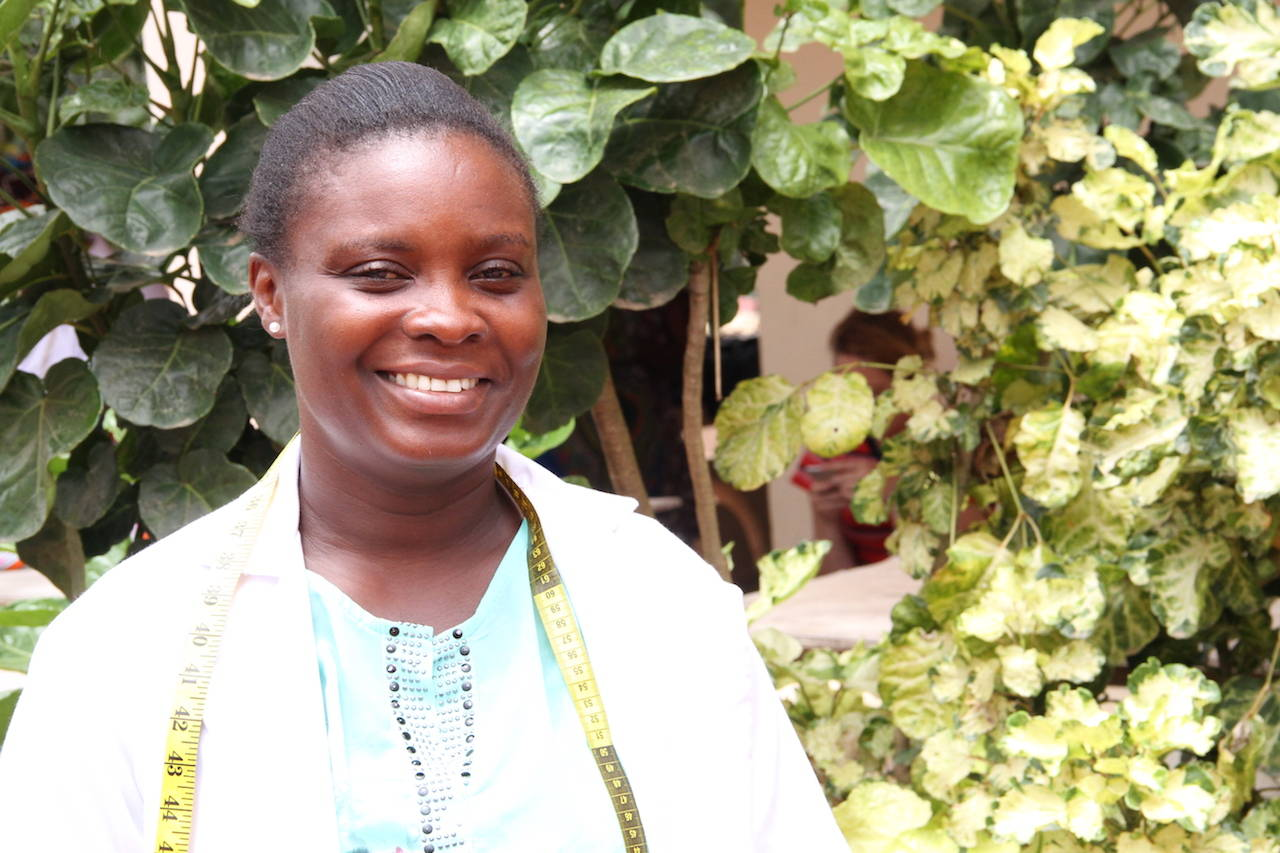 """I have worked with YEVU since its beginning. Aside from my sewing and clothes making skills that have improved, I am able to get enough money to pay my child's school fees. YEVU is a place I want to work for life."""