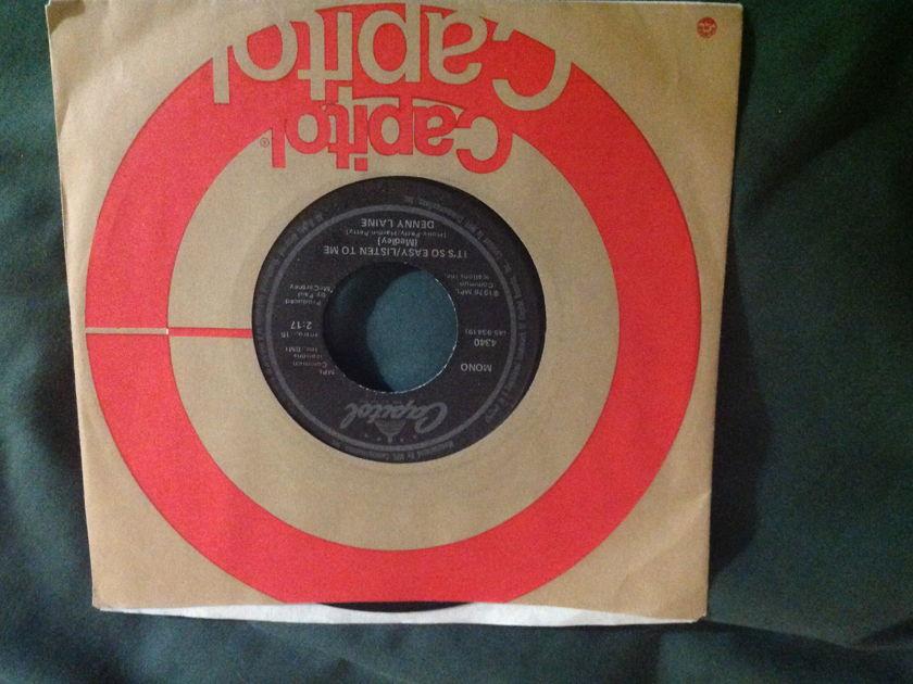 Denny  Laine - It's So Easy/Listen To Me Mono 45 Paul McCartney NM