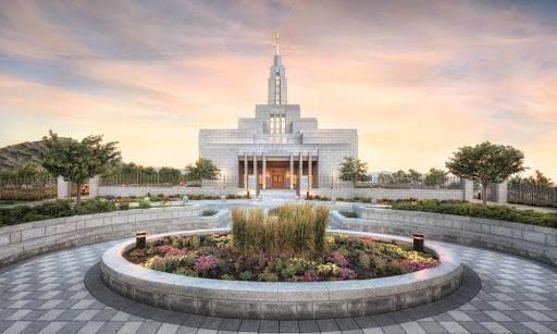 Photo of Draper Utah LDS Temple and the circular walkway.