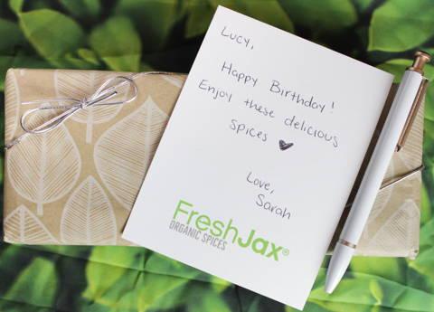 Gift set with handwritten note
